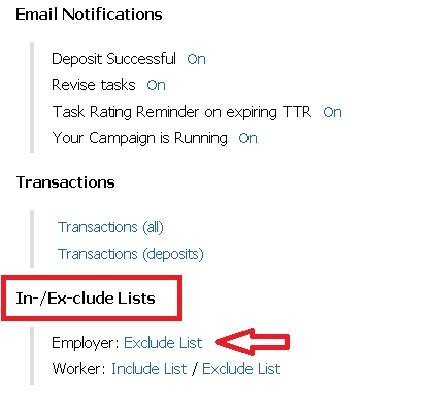 Exclude List Feature for Employers and Workers - MicroWorkers